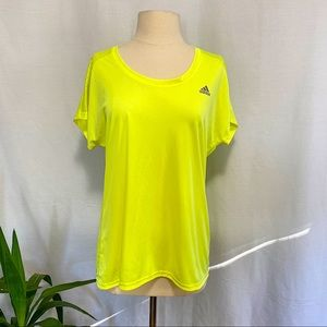 Adidas neon yellow work out tee